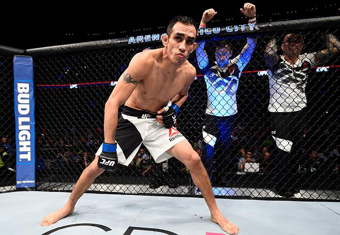MEXICO CITY, MEXICO - NOVEMBER 05:  Tony Ferguson of the United States enters the Octagon before facing Rafael Dos Anjos of Brazil in their lightweight bout during the UFC Fight Night event at Arena Ciudad de Mexico on November 5, 2016 in Mexico City, Mexico. (Photo by Jeff Bottari/Zuffa LLC/Zuffa LLC via Getty Images)