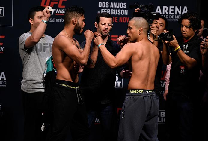MEXICO CITY, MEXICO - NOVEMBER 04:  (L-R) Marco Beltran of Mexico and Joe Soto of the United States face off during the UFC weigh-in at the Arena Ciudad de Mexico on November 4, 2016 in Mexico City, Mexico. (Photo by Jeff Bottari/Zuffa LLC/Zuffa LLC via Getty Images)