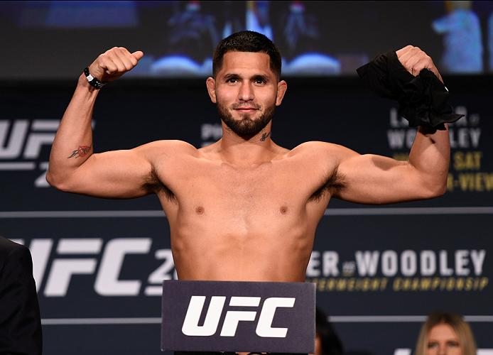 ATLANTA, GA - JULY 29:  Jorge Masvidal steps on the scale during the UFC 201 weigh-in at Fox Theatre on July 29, 2016 in Atlanta, Georgia. (Photo by Jeff Bottari/Zuffa LLC/Zuffa LLC via Getty Images)