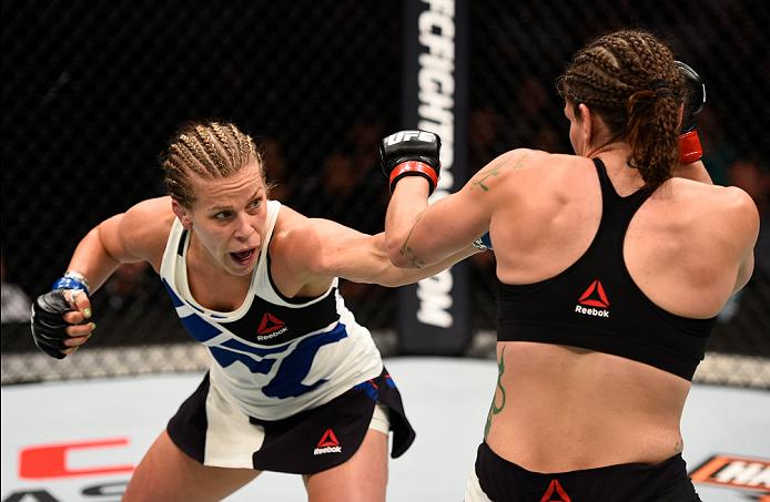 SIOUX FALLS, SD - JULY 13: (L-R) Katlyn Chookagian punches Lauren Murphy in their women's bantamweight bout during the UFC Fight Night event on July 13, 2016 at Denny Sanford Premier Center in Sioux Falls, South Dakota. (Photo by Jeff Bottari/Zuffa LLC/Zuffa LLC via Getty Images)