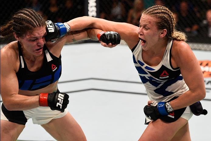 SIOUX FALLS, SD - JULY 13: (L-R) Lauren Murphy punches Katlyn Chookagian in their women's bantamweight bout during the UFC Fight Night event on July 13, 2016 at Denny Sanford Premier Center in Sioux Falls, South Dakota. (Photo by Jeff Bottari/Zuffa LLC)
