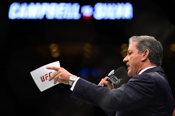 VANCOUVER, BC - AUGUST 27:  UFC announcer Bruce buffer introduces the fighters during the UFC Fight Night event at Rogers Arena on August 27, 2016 in Vancouver, British Columbia, Canada. (Photo by Jeff Bottari/Zuffa LLC/Zuffa LLC via Getty Images)