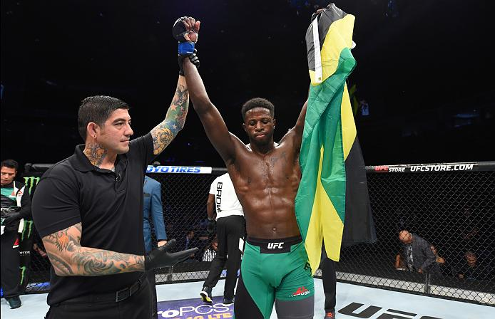 <a href='../fighter/Randy-Brown'>Randy Brown</a> celebrates his victory over <a href='../fighter/erick-montano'>Erick Montano</a> in Fight Night Hidalgo