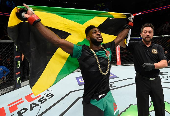 Aljamain Sterling celebrates after his win over Augusto Mendes at Fight Night Kansas City