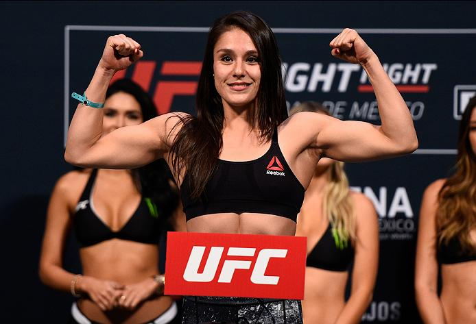 MEXICO CITY, MEXICO - NOVEMBER 04:  Alexa Grasso of Mexico steps onto the scale during the UFC weigh-in at the Arena Ciudad de Mexico on November 4, 2016 in Mexico City, Mexico. (Photo by Jeff Bottari/Zuffa LLC/Zuffa LLC via Getty Images)