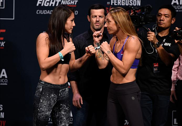 MEXICO CITY, MEXICO - NOVEMBER 04:  (L-R) Alexa Grasso of Mexico and Heather Jo Clark of the United States face off during the UFC weigh-in at the Arena Ciudad de Mexico on November 4, 2016 in Mexico City, Mexico. (Photo by Jeff Bottari/Zuffa LLC/Zuffa LLC via Getty Images)