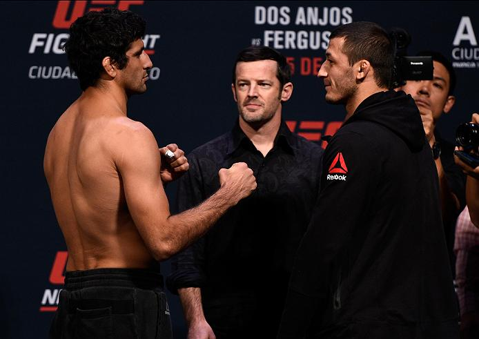 MEXICO CITY, MEXICO - NOVEMBER 04:  (L-R) Beneil Dariush of Iran and Rashid Magomedov of Russia face off during the UFC weigh-in at the Arena Ciudad de Mexico on November 4, 2016 in Mexico City, Mexico. (Photo by Jeff Bottari/Zuffa LLC/Zuffa LLC via Getty Images)