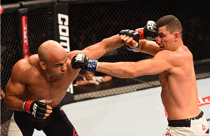 Warlley Alves of Brazil punches Nordine Taleb of Canada in their welterweight bout during UFC 190 on August 1, 2015 in Rio de Janeiro, Brazil. (Photo by Josh Hedges/Zuffa LLC)