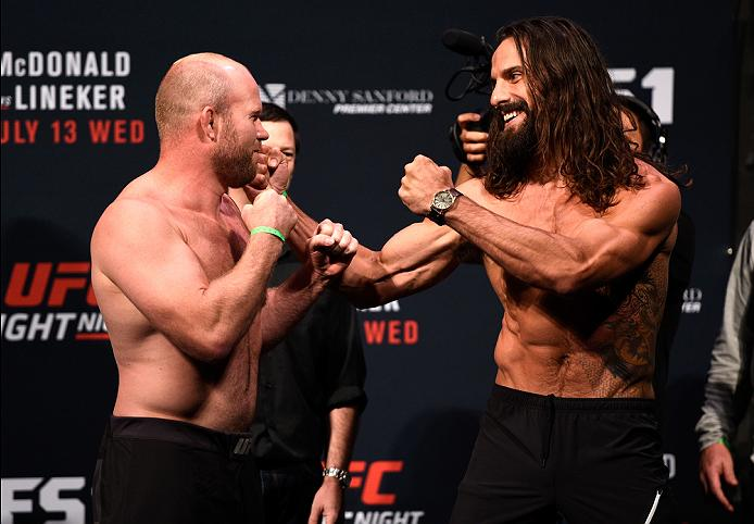 Tim Boetsch and Josh Samman face-off at weigh-ins before Fight Night Sioux Falls
