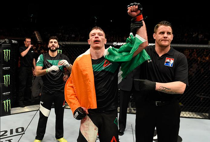<a href='../fighter/joseph-duffy'>Joe Duffy</a> celebrates his victory over <a href='../fighter/Reza-Madadi'>Reza Madadi</a> in their lightweight fight in March of 2017