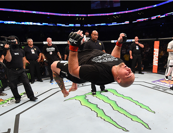 NEW ORLEANS, LA - JUNE 06:   Shawn Jordancelebrates his victory over Derrick Lewis in their heavyweight bout during the UFC event at the Smoothie King Center on June 6, 2015 in New Orleans, Louisiana. (Photo by Josh Hedges/Zuffa LLC/Zuffa LLC via Getty Images)