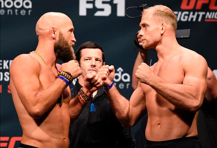 PORTLAND, OR - SEPTEMBER 30:  (L-R) Josh Burkman and Zak Ottow face-off during the UFC Fight Night weigh-in at the Oregon Convention Center on September 30, 2016 in Portland, Oregon. (Photo by Josh Hedges/Zuffa LLC/Zuffa LLC via Getty Images)
