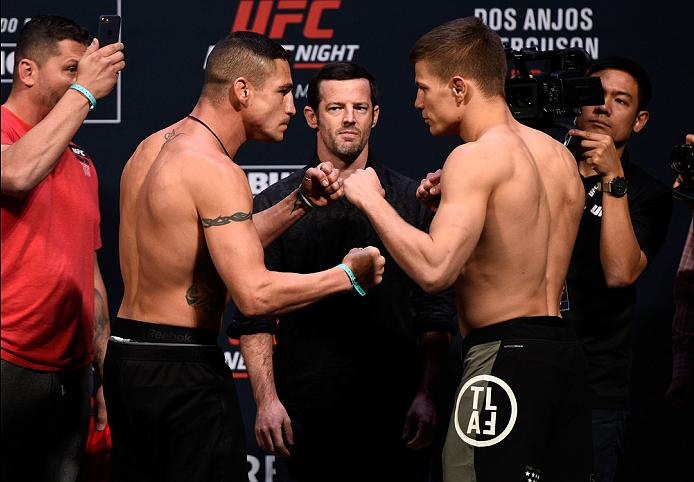 MEXICO CITY, MEXICO - NOVEMBER 04:  (L-R) Diego Sanchez of the United States and Marcin Held of Poland face off during the UFC  weigh-in at the Arena Ciudad de Mexico on November 4, 2016 in Mexico City, Mexico. (Photo by Jeff Bottari/Zuffa LLC/Zuffa LLC via Getty Images)