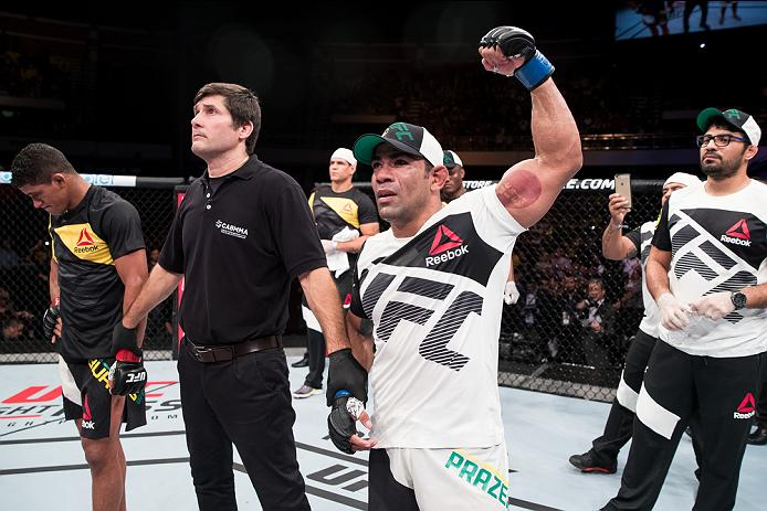 BRASILIA, BRAZIL - SEPTEMBER 24: Michel Prazeres of Brazil celebrates victory over Gilbert Burns of Brazil in their lightweight UFC bout during the UFC Fight Night event at Nilson Nelson gymnasium on September 24, 2016 in Brasilia, Brazil. (Photo by Buda Mendes/Zuffa LLC/Zuffa LLC via Getty Images)