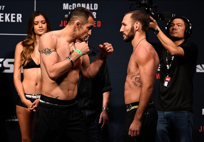 SIOUX FALLS, SD - JULY 12:   (L-R) Opponents Tony Ferguson and Lando Vannata face off during the UFC Fight Night weigh-in at Denny Sanford Premier Center on July 12, 2016 in Sioux Falls, South Dakota. (Photo by Jeff Bottari/Zuffa LLC/Zuffa LLC via Getty Images)
