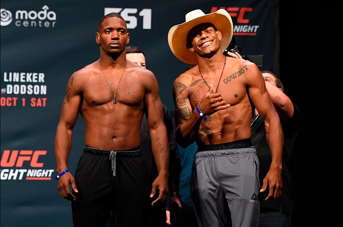 PORTLAND, OR - SEPTEMBER 30:  (L-R) Will Brooks and Alex Oliveira of Brazil pose for a picture during the UFC Fight Night weigh-in at the Oregon Convention Center on September 30, 2016 in Portland, Oregon. (Photo by Josh Hedges/Zuffa LLC/Zuffa LLC via Getty Images)