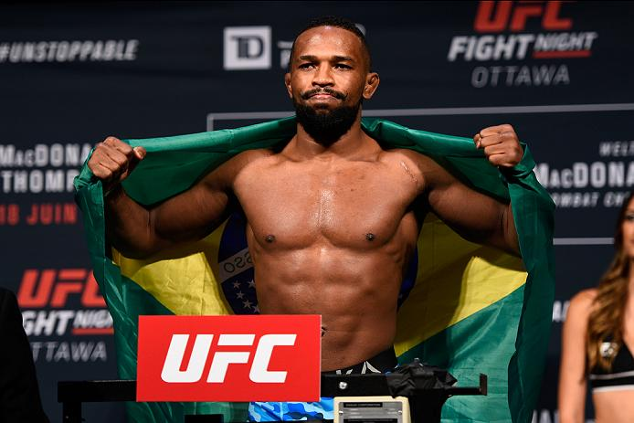 OTTAWA, ON - JUNE 17:  Leandro Silva of Brazil steps on the scale during the UFC Fight Night Weigh-in inside the Arena at TD Place on June 17, 2016 in Ottawa, Ontario, Canada. (Photo by Jeff Bottari/Zuffa LLC/Zuffa LLC via Getty Images)