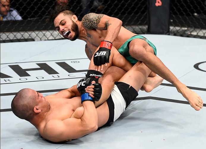 MEXICO CITY, MEXICO - NOVEMBER 05:  (L-R) Joe Soto of the United States submits Marco Beltran of Mexico in their catchweight bout during the UFC Fight Night event at Arena Ciudad de Mexico on November 5, 2016 in Mexico City, Mexico. (Photo by Jeff Bottari/Zuffa LLC/Zuffa LLC via Getty Images)