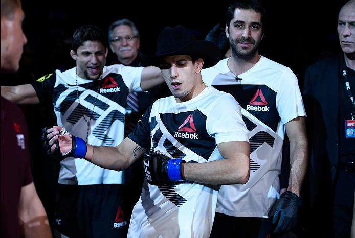 MEXICO CITY, MEXICO - NOVEMBER 05:  Felipe Arantes of Brazil prepares to enter the Octagon before facing Erik Perez of Mexico in their bantamweight bout during the UFC Fight Night event at Arena Ciudad de Mexico on November 5, 2016 in Mexico City, Mexico. (Photo by Jeff Bottari/Zuffa LLC/Zuffa LLC via Getty Images)