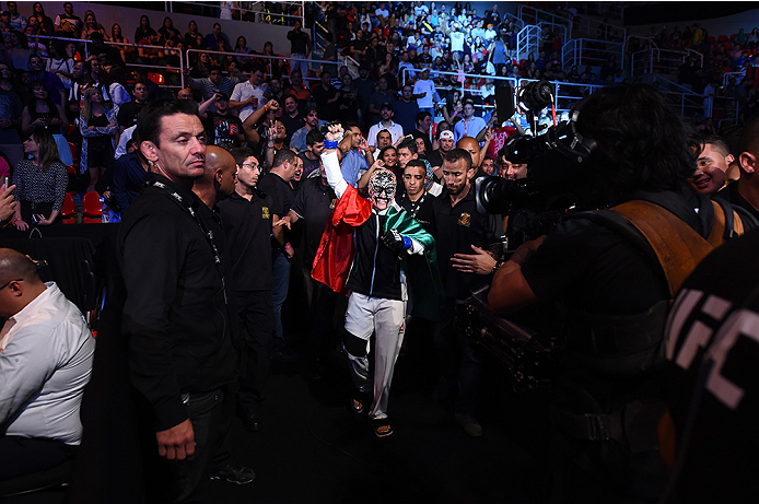 RIO DE JANEIRO, BRAZIL - AUGUST 01:  Jessica Aguilar of the United States prepares to enter the Octagon before facing Claudia Gadelha of Brazil in their women's strawweight bout during the UFC 190 event inside HSBC Arena on August 1, 2015 in Rio de Janeiro, Brazil.  (Photo by Josh Hedges/Zuffa LLC/Zuffa LLC via Getty Images)
