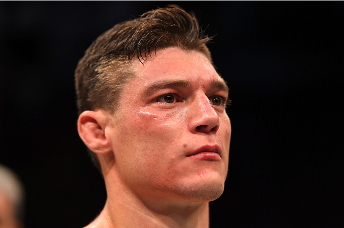 HOUSTON, TX - OCTOBER 03:  Alan Jouban reacts to his knockout loss to Albert Tumenov Alan Jouban in their welterweight bout during the UFC 192 event at the Toyota Center on October 3, 2015 in Houston, Texas. (Photo by Josh Hedges/Zuffa LLC/Zuffa LLC via Getty Images)