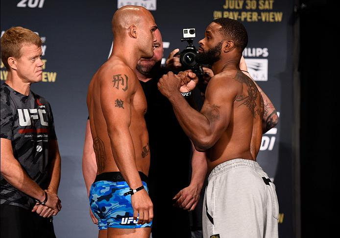 ATLANTA, GA - JULY 29:  (L-R) Opponents Robbie Lawler and Tyron Woodley face off during the UFC 201 weigh-in at Fox Theatre on July 29, 2016 in Atlanta, Georgia. (Photo by Jeff Bottari/Zuffa LLC/Zuffa LLC via Getty Images)