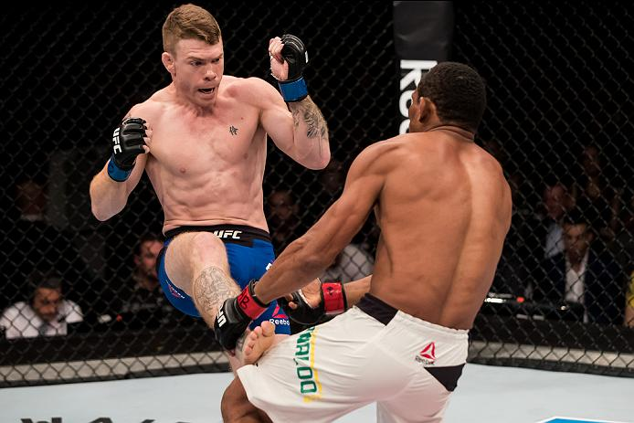 BRASILIA, BRAZIL - SEPTEMBER 24: Paul Felder of the United States kicks Francisco Trinaldo of Brazil in their lightweigh UFC bout during the UFC Fight Night event at Nilson Nelson gymnasium on September 24, 2016 in Brasilia, Brazil. (Photo by Buda Mendes/Zuffa LLC/Zuffa LLC via Getty Images)