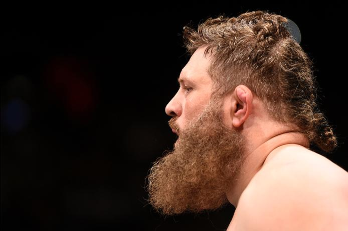LAS VEGAS, NV - JULY 07:   Roy Nelson prepares to enter the Octagon before his heavyweight bout against Derrick Lewis during the UFC Fight Night event inside the MGM Grand Garden Arena on July 7, 2016 in Las Vegas, Nevada. (Photo by Jeff Bottari/Zuffa LLC/Zuffa LLC via Getty Images)