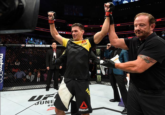 DALLAS, TX - MAY 13: Demian Maia celebrates his victory over Jorge Masvidal in their welterweight fight during the UFC 211 event at the American Airlines Center on May 13, 2017 in Dallas, Texas. (Photo by Josh Hedges/Zuffa LLC)