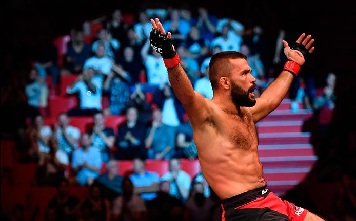 STOCKHOLM, SWEDEN - MAY 28: Peter Sobotta celebrates his victory over Ben Saunders in their welterweight fight during the UFC Fight Night event at the Ericsson Globe Arena on May 28, 2017 in Stockholm, Sweden. (Photo by Jeff Bottari/Zuffa LLC/Zuffa LLC via Getty Images)