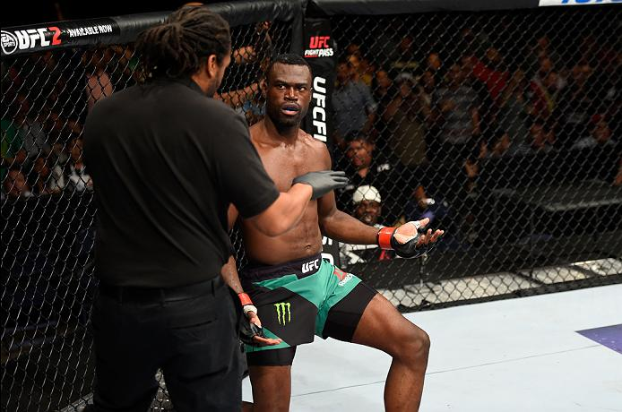 Uriah Hall reacts for the referee rewarded <a href='../fighter/Derek-Brunson'>Derek Brunson</a> a TKO during the two's clash at Fight Night Hidalgo