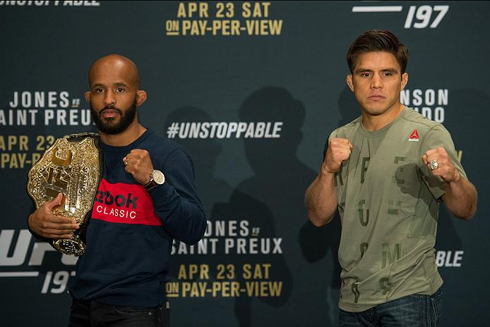 LAS VEGAS, NEVADA - APRIL 21:  (L-R) UFC flyweight champion Demetrious Johnson and Henry Cejudo pose for the media during the UFC 197: Ultimate Media Day at MGM Grand Hotel & Casino on April 21, 2016 in Las Vegas Nevada. (Photo by Brandon Magnus/Zuffa LLC/Zuffa LLC via Getty Images)