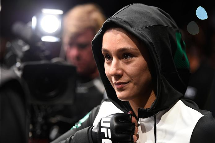 MEXICO CITY, MEXICO - NOVEMBER 05:  Alexa Grasso of Mexico prepares to enter the Octagon before facing Heather Jo Clark of the United States in their women's strawweight bout during the UFC Fight Night event at Arena Ciudad de Mexico on November 5, 2016 in Mexico City, Mexico. (Photo by Jeff Bottari/Zuffa LLC/Zuffa LLC via Getty Images)