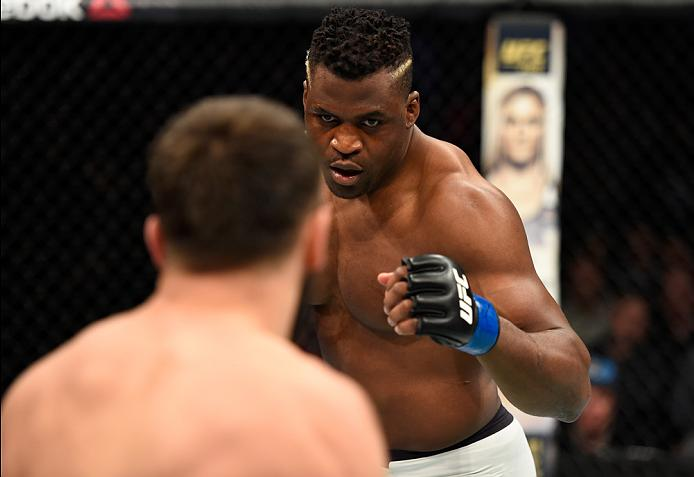 DENVER, CO - JANUARY 28:  (R-L) Francis Ngannou of Cameroon circles Andrei Arlovski of Belarus in their heavyweight bout during the UFC Fight Night event at the Pepsi Center on January 28, 2017 in Denver, Colorado. (Photo by Josh Hedges/Zuffa LLC/Zuffa LLC via Getty Images)