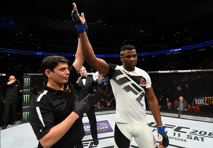 DENVER, CO - JANUARY 28:  Francis Ngannou of Cameroon celebrates his knockout victory over Andrei Arlovski of Belarus in their heavyweight bout during the UFC Fight Night event at the Pepsi Center on January 28, 2017 in Denver, Colorado. (Photo by Josh Hedges/Zuffa LLC/Zuffa LLC via Getty Images)