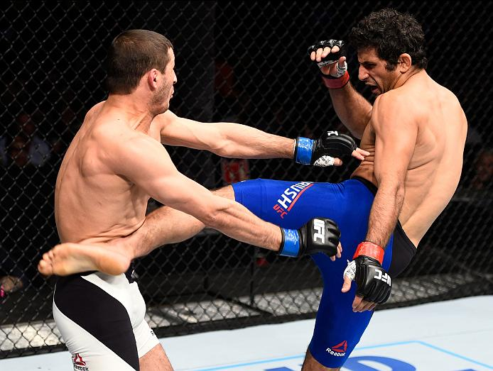 MEXICO CITY, MEXICO - NOVEMBER 05:  (R-L) Beneil Dariush of Iran kicks Rashid Magomedov of Russia in their lightweight bout during the UFC Fight Night event at Arena Ciudad de Mexico on November 5, 2016 in Mexico City, Mexico. (Photo by Jeff Bottari/Zuffa LLC/Zuffa LLC via Getty Images)