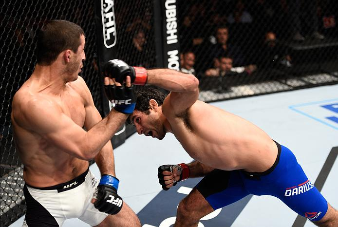 MEXICO CITY, MEXICO - NOVEMBER 05:  (R-L) Beneil Dariush of Iran punches Rashid Magomedov of Russia in their lightweight bout during the UFC Fight Night event at Arena Ciudad de Mexico on November 5, 2016 in Mexico City, Mexico. (Photo by Jeff Bottari/Zuffa LLC/Zuffa LLC via Getty Images)