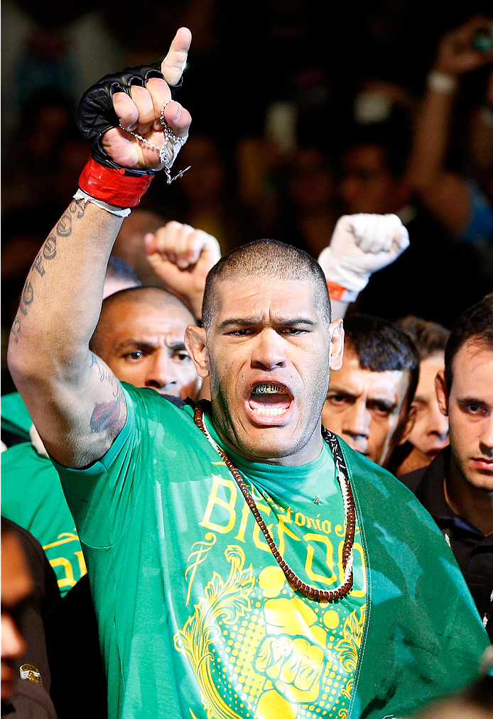 BRASILIA, BRAZIL - SEPTEMBER 13: Antonio ''Bigfoot'' Silva of Brazil enters the arena before his heavyweight bout against Andrei Arlovski of Belarus during the UFC Fight Night event inside Nilson Nelson Gymnasium on September 13, 2014 in Brasilia, Brazil. (Photo by Josh Hedges/Zuffa LLC/Zuffa LLC via Getty Images)