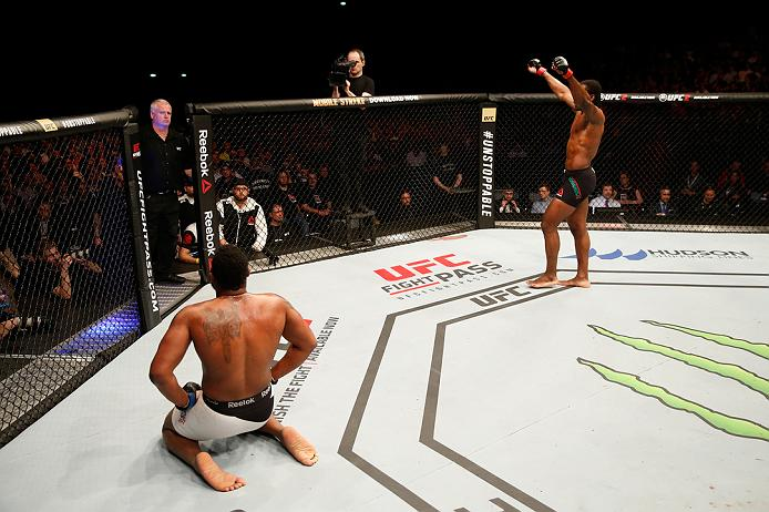 ZAGREB, CROATIA - APRIL 10:   (R-L) Francis Ngannou celebrates his victory over Curtis Blaydes in their heavyweight bout during the UFC Fight Night event at the Arena Zagreb on April 10, 2016 in Zagreb, Croatia. (Photo by Srdjan Stevanovic/Zuffa LLC/Zuffa LLC via Getty Images)