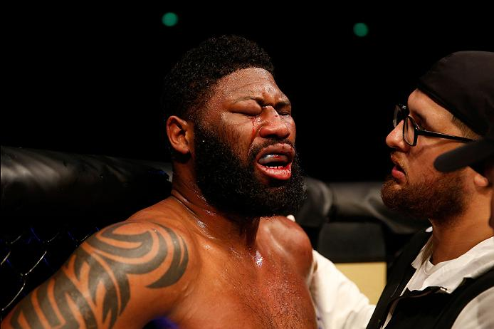 ZAGREB, CROATIA - APRIL 10:   Curtis Blaydes reacts to his doctor stoppage loss to Francis Ngannou in their heavyweight bout during the UFC Fight Night event at the Arena Zagreb on April 10, 2016 in Zagreb, Croatia. (Photo by Srdjan Stevanovic/Zuffa LLC/Zuffa LLC via Getty Images)