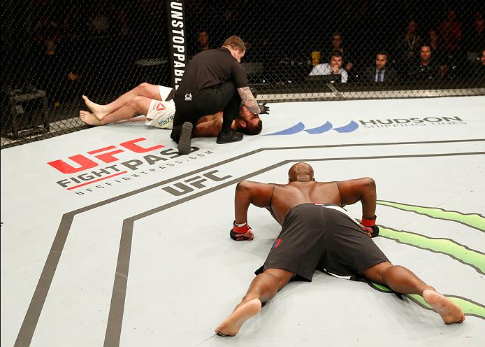 ZAGREB, CROATIA - APRIL 10:   (R-L) Derrick Lewis celebrates his knock out victory over Gabriel Gonzaga in their heavyweight bout during the UFC Fight Night event at the Arena Zagreb on April 10, 2016 in Zagreb, Croatia. (Photo by Srdjan Stevanovic/Zuffa LLC/Zuffa LLC via Getty Images)