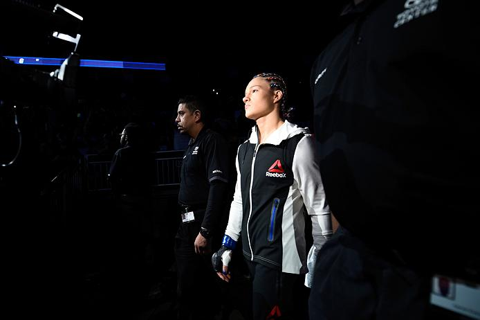 HOUSTON, TX - FEBRUARY 04: Felice Herrig prepares to enter the Octagon before facing Alexa Grasso of Mexico in their women's strawweight bout during the UFC Fight Night event at the Toyota Center on February 4, 2017 in Houston, Texas. (Photo by Jeff Bottari/Zuffa LLC)