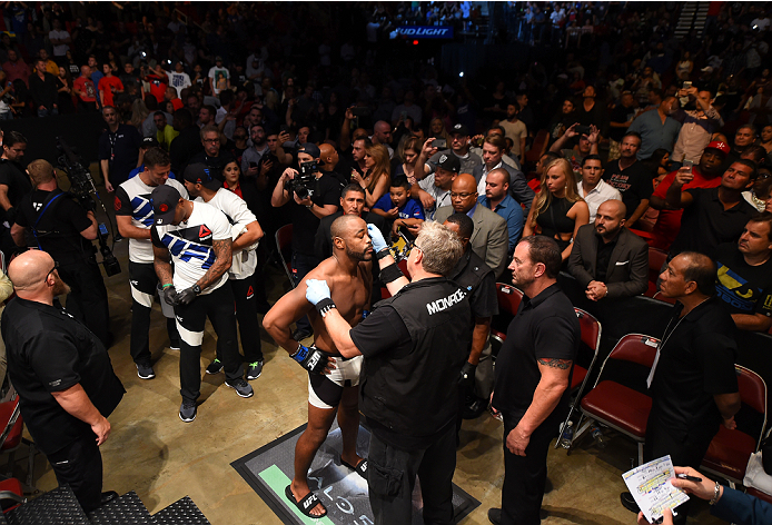HOUSTON, TX - OCTOBER 03:  Rashad Evans prepares to enter the Octagon before facing Ryan Bader in their light heavyweight bout during the UFC 192 event at the Toyota Center on October 3, 2015 in Houston, Texas. (Photo by Josh Hedges/Zuffa LLC/Zuffa LLC via Getty Images)