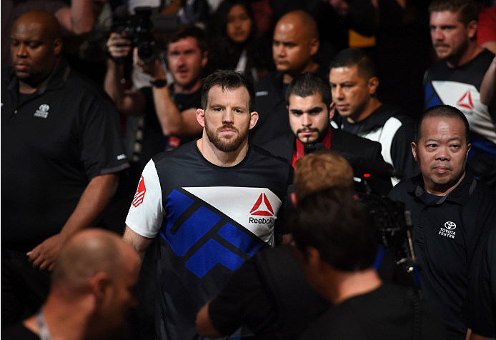HOUSTON, TX - OCTOBER 03:  Ryan Bader prepares to enter the Octagon before facing Rashad Evans in their light heavyweight bout during the UFC 192 event at the Toyota Center on October 3, 2015 in Houston, Texas. (Photo by Josh Hedges/Zuffa LLC/Zuffa LLC via Getty Images)
