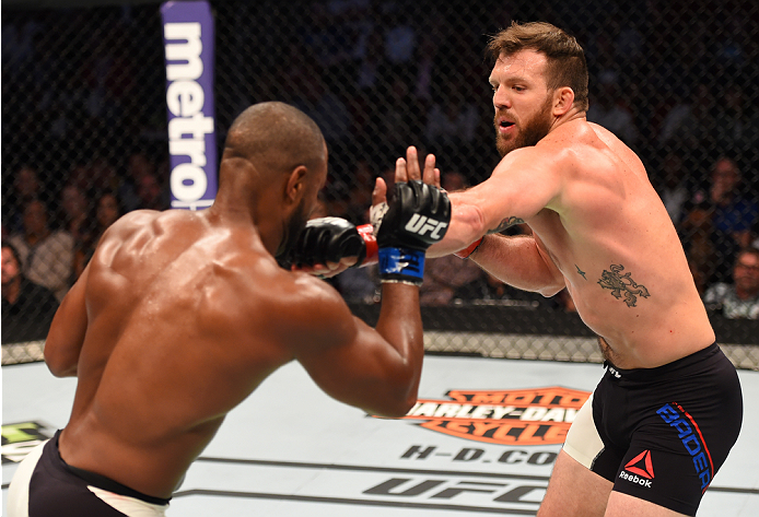 HOUSTON, TX - OCTOBER 03:  (R-L) Ryan Bader punches Rashad Evans in their light heavyweight bout during the UFC 192 event at the Toyota Center on October 3, 2015 in Houston, Texas. (Photo by Josh Hedges/Zuffa LLC/Zuffa LLC via Getty Images)