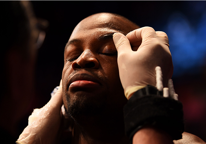 NEWARK, NJ - APRIL 18:  Eddie Gordon prepares for his middleweight bout against Chris Dempsey during the UFC Fight Night event at Prudential Center on April 18, 2015 in Newark, New Jersey.  (Photo by Josh Hedges/Zuffa LLC/Zuffa LLC via Getty Images)