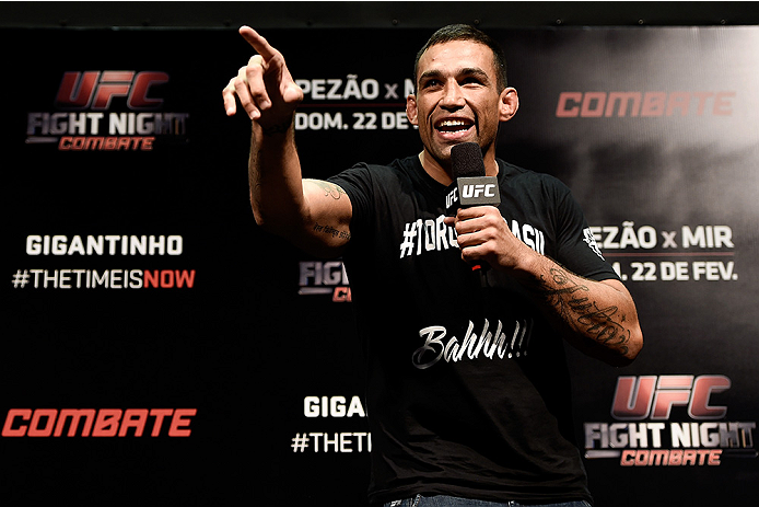 PORTO ALEGRE, BRAZIL - FEBRUARY 21:  UFC heavyweight Fabricio Werdum interacts with fans during a Q&A session before the UFC Fight Night weigh-in  at Gigantinho Arena on February 21, 2015 in Porto Alegre, Brazil.  (Photo by Buda Mendes/Zuffa LLC/Zuffa LLC via Getty Images)