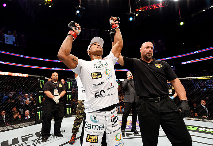 NEWARK, NJ - APRIL 18:  Ronaldo 'Jacare' Souza of Brazil celebrates his win over Chris Camozzi by tap out in their middleweight bout during the UFC Fight Night event at Prudential Center on April 18, 2015 in Newark, New Jersey.  (Photo by Josh Hedges/Zuffa LLC/Zuffa LLC via Getty Images)