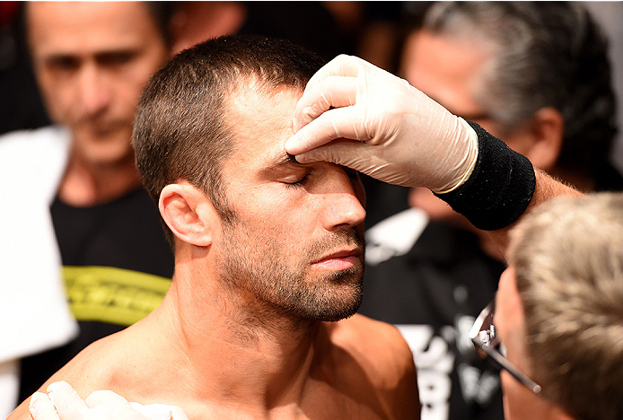 NEWARK, NJ - APRIL 18:  Luke Rockhold prepares for his middleweight bout against Lyoto Machida of Brazil during the UFC Fight Night event at Prudential Center on April 18, 2015 in Newark, New Jersey.  (Photo by Josh Hedges/Zuffa LLC/Zuffa LLC via Getty Images)
