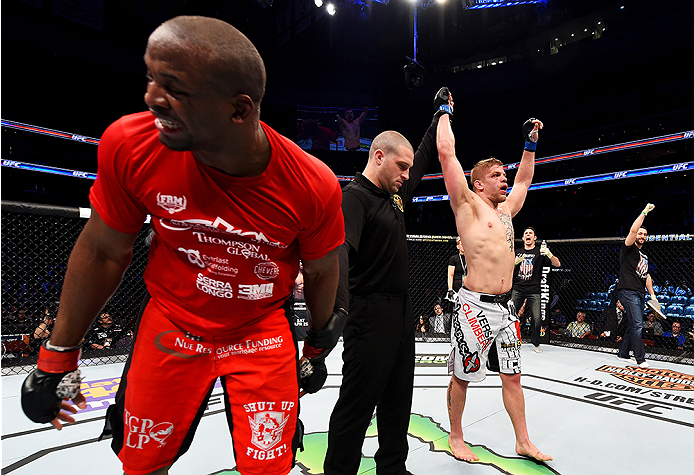 NEWARK, NJ - APRIL 18:  Eddie Gordon (L) reacts as Chris Dempsey (R) is declared winner by split decision in their middleweight bout during the UFC Fight Night event at Prudential Center on April 18, 2015 in Newark, New Jersey.  (Photo by Josh Hedges/Zuffa LLC/Zuffa LLC via Getty Images)